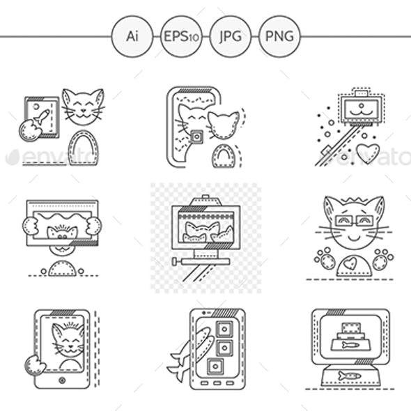 Set of black flat line icons for cat selfie