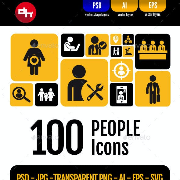 100 People Icons Pack