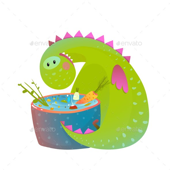Kids Vegetarian Baby Dragon Eating