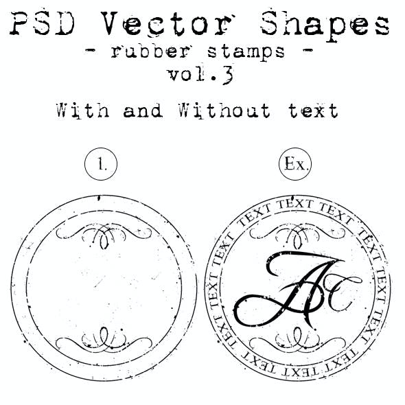 PSD Vector Shapes - Rubber Stamps - Vol 4