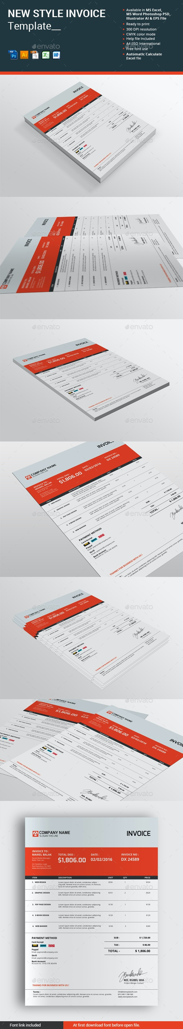 New Style Invoice Template - Proposals & Invoices Stationery