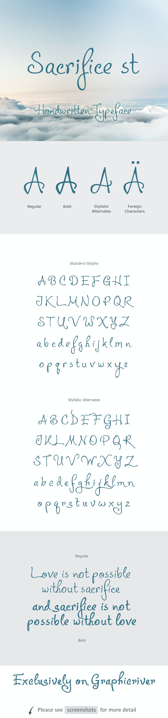 Sacrifice st - Hand-writing Script