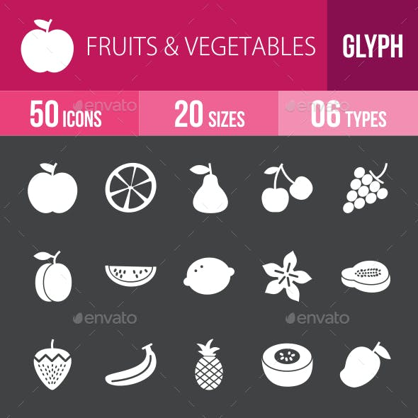 Fruits & Vegetables Glyph Inverted Icons