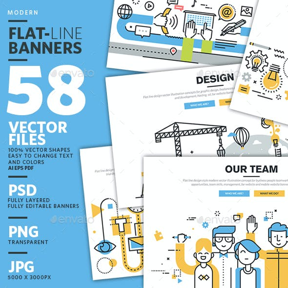 Set of Flat Line Banners for Website Design