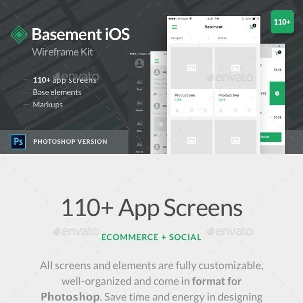 Basement iOS Wireframe Kit: 110+ App Screens for Photoshop