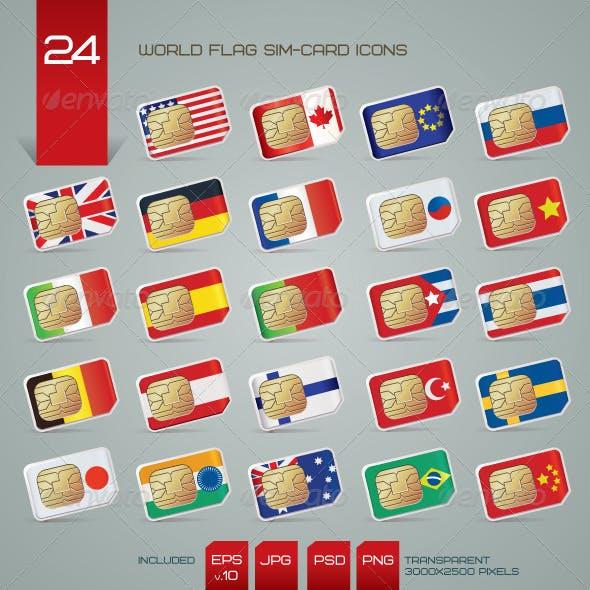 World Flag SIM Cards Icons Set