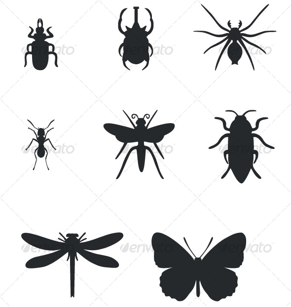 Insect black silhouttes set 01 - Miscellaneous Characters