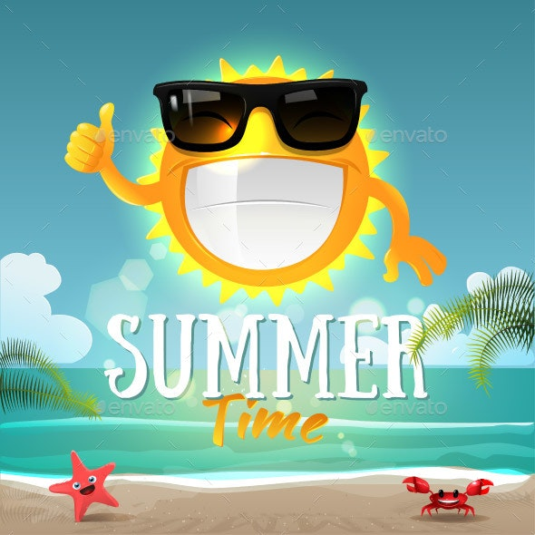 Cartoon Sun Character with Sunglasses - Miscellaneous Characters