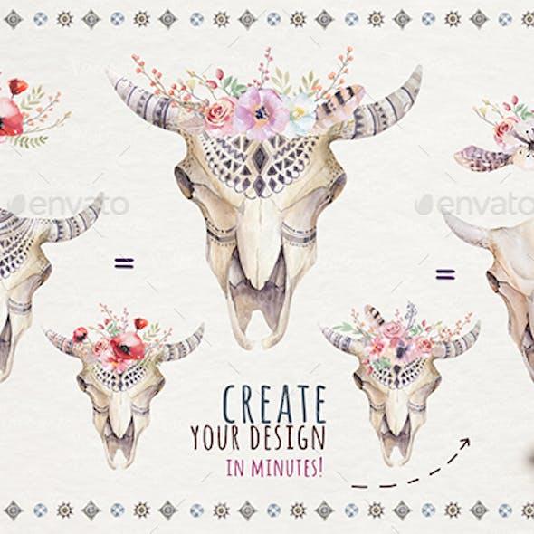 Watercolor Boho Skulls and Flowers