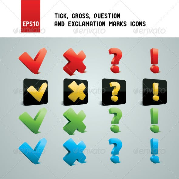 Tick, Cross, Question and Exclamation Marks