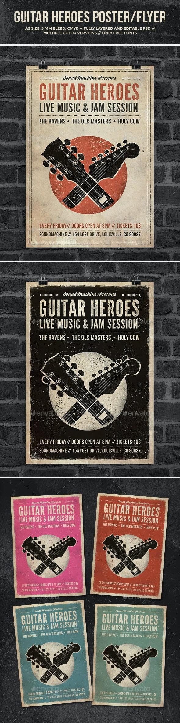 Guitar Heroes - Vintage Music Poster/Flyer - Concerts Events