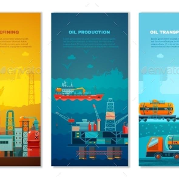 Petroleum Industry Vertical Banners Set