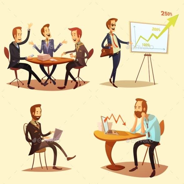 Businessmen Cartoon Icons Set
