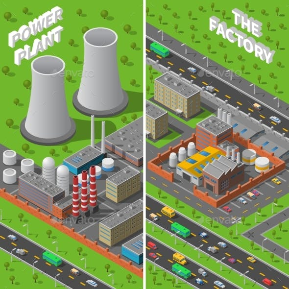 Factory Plant Industrial Isometric Vertical