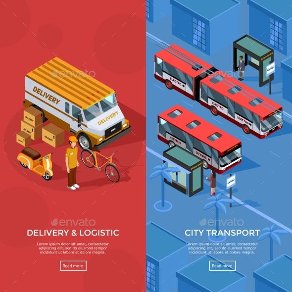 Two Vertical Isometric Transport Banners