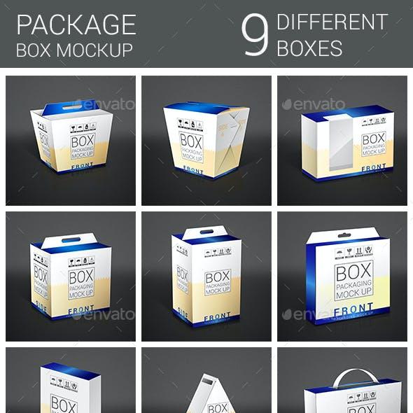 9 Box Package Mockup