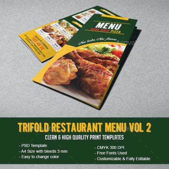 Tri-fold Restaurant Menu Vol 2