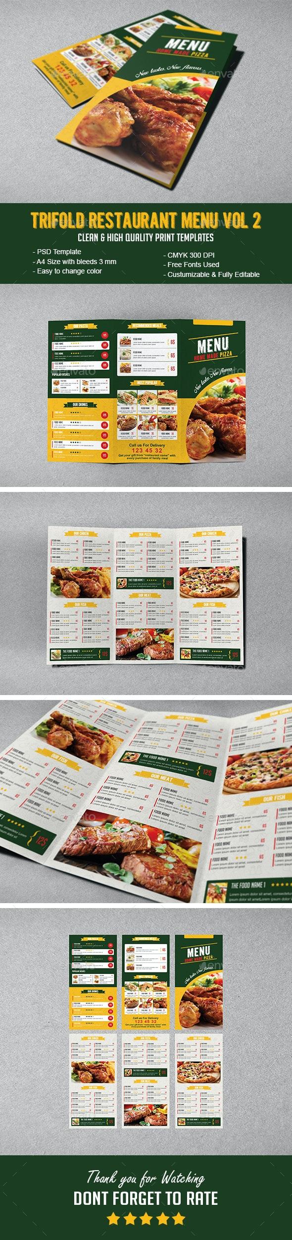 Tri-fold Restaurant Menu Vol 2 - Food Menus Print Templates