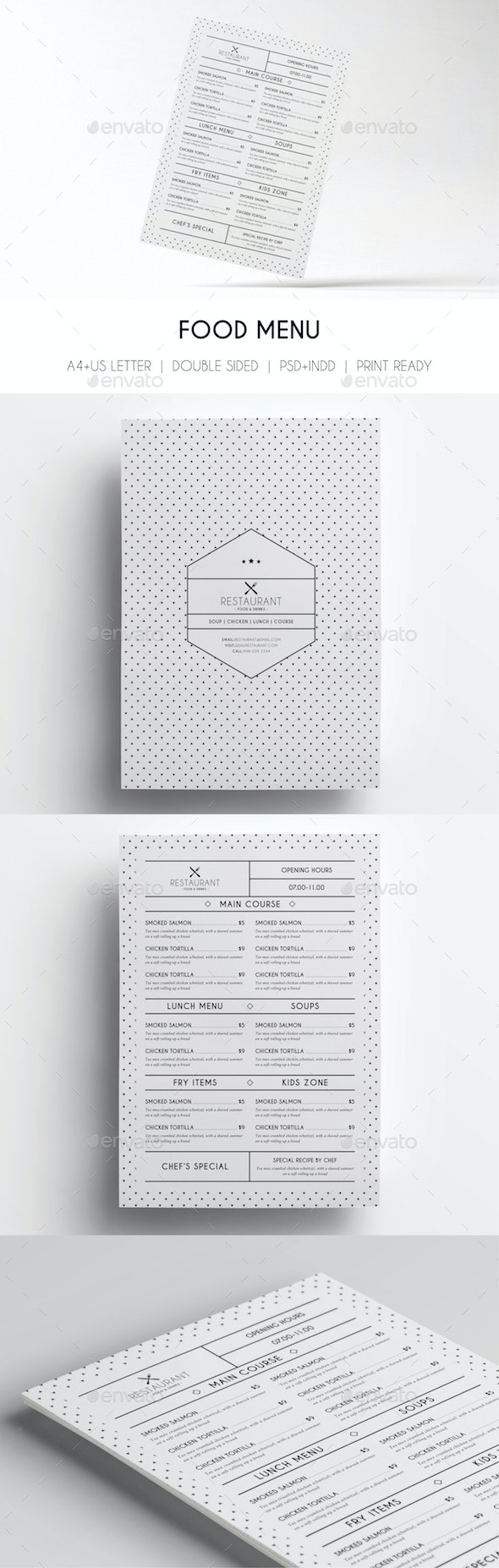Minimal Menu Template - Food Menus Print Templates
