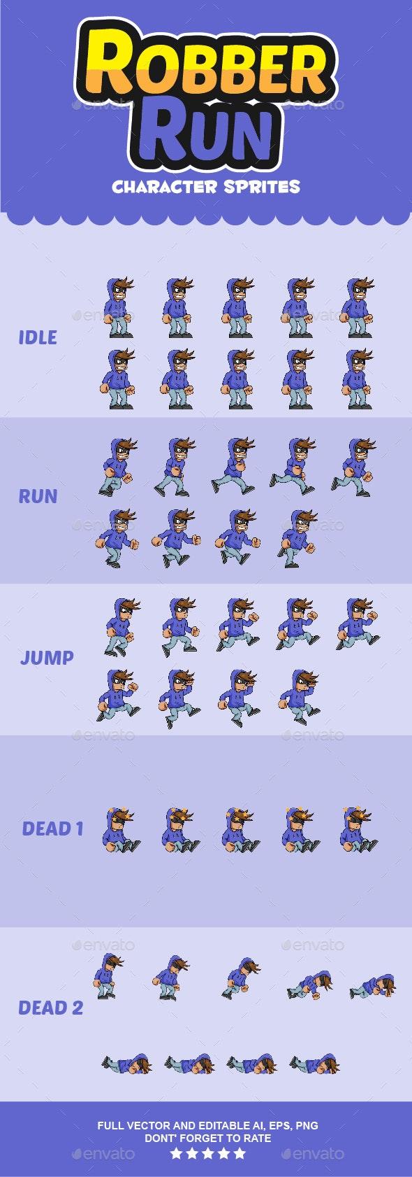 Robber Character Sprites - Sprites Game Assets