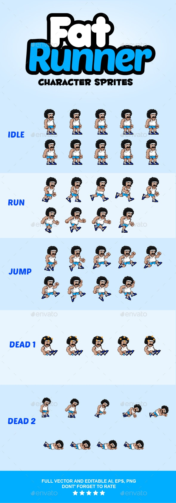 Fat Runner Character Sprites - Sprites Game Assets