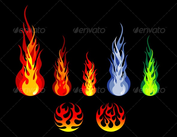 Fire and flame silhouettes - Decorative Vectors