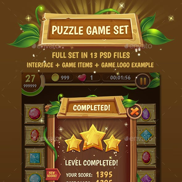 Big Wooden Game Puzzle Set with GUI