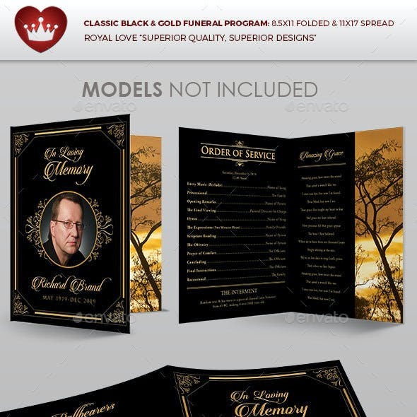 Classic Black & Gold Funeral Program Template