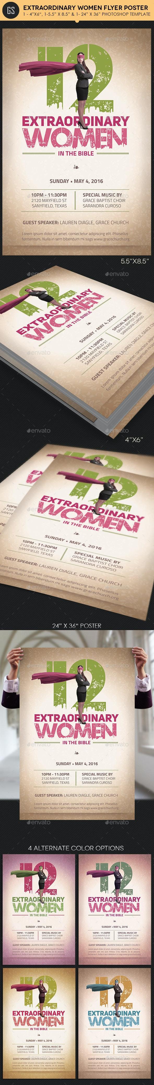 Women Flyer Plus Poster Template - Church Flyers