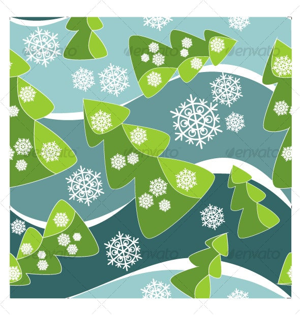 Seamless ornament with christmas tree  in color  3 - Backgrounds Decorative