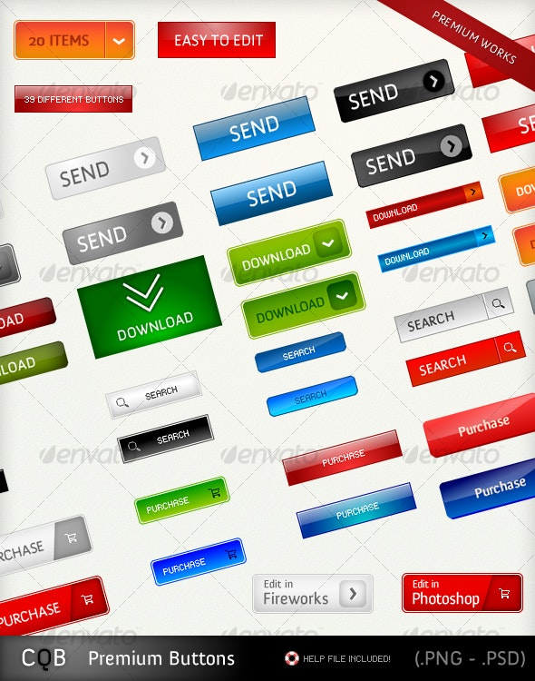 Premium Buttons - Buttons Web Elements