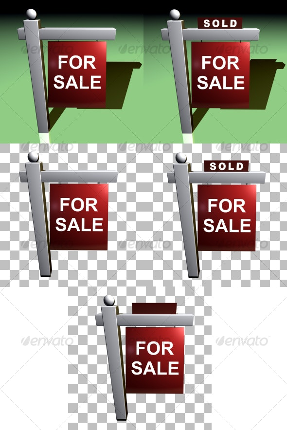Realty Sign - Objects 3D Renders