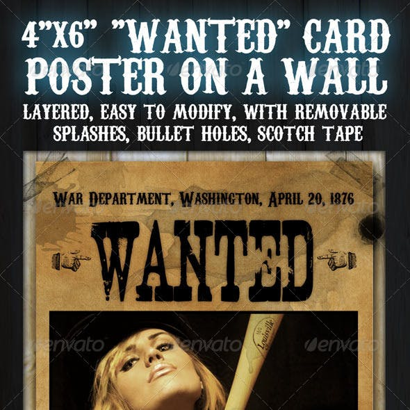 """4""""x6"""" """"Wanted"""" Flyer Card"""