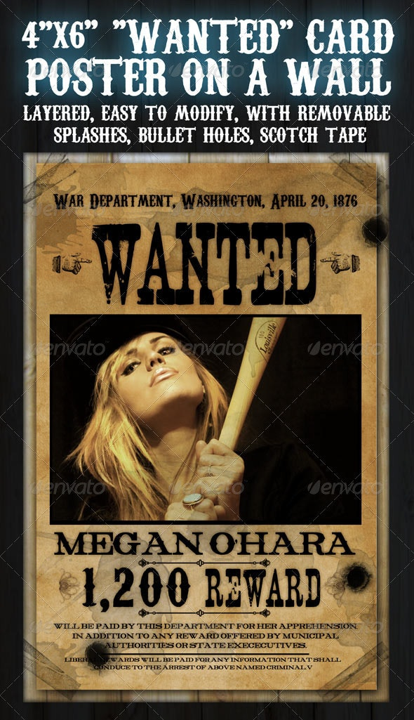 """4""""x6"""" """"Wanted"""" Flyer Card - Clubs & Parties Events"""