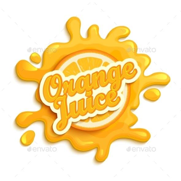 Orange Juice Label Splash.