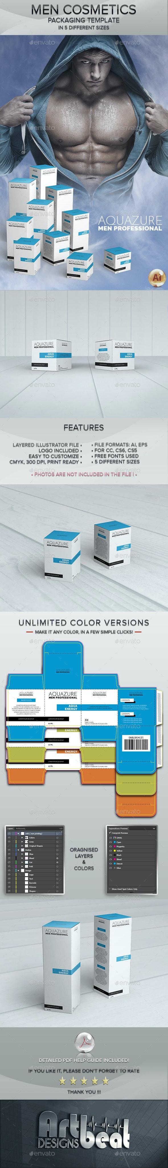 Men Cosmetics Box Templates - Packaging Print Templates