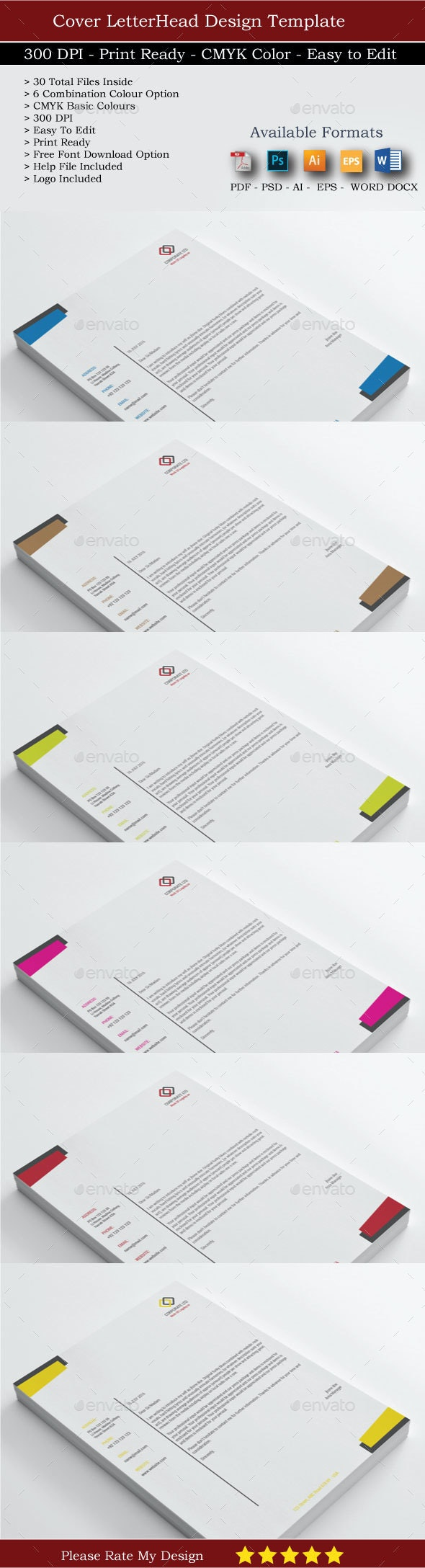 Corporate Business Letterheads Updated - Stationery Print Templates