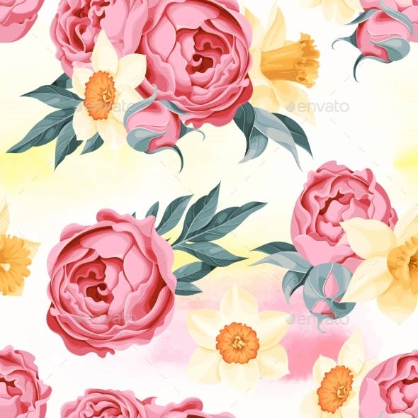 Peony And Daffodil Seamless