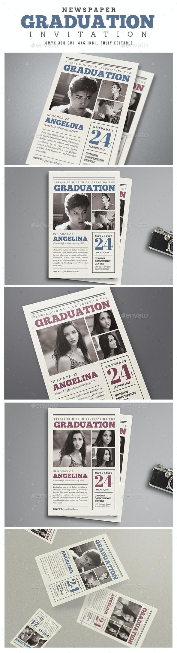 Newspaper Graduation invitation - Cards & Invites Print Templates