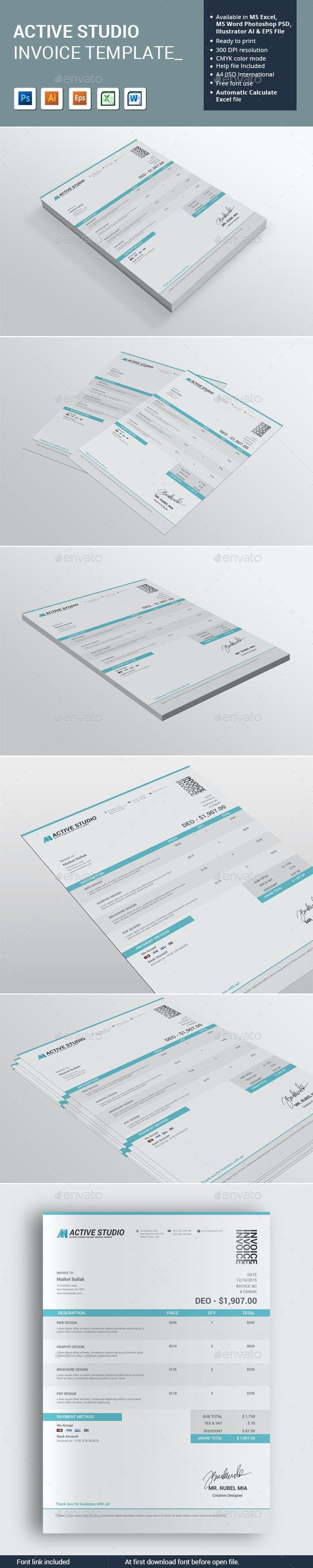 Active Studio Invoice Template - Proposals & Invoices Stationery