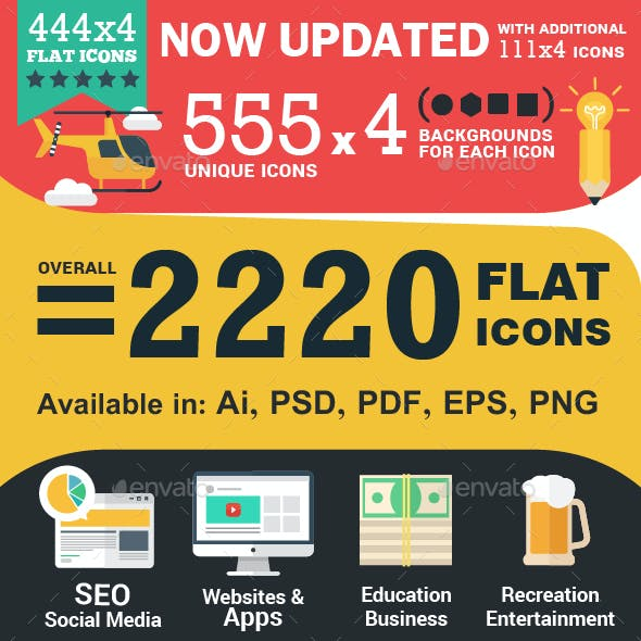 2220 Flat Icons - SEO & SMO, Business & Education, Web & Apps, Recreation & Entertainment