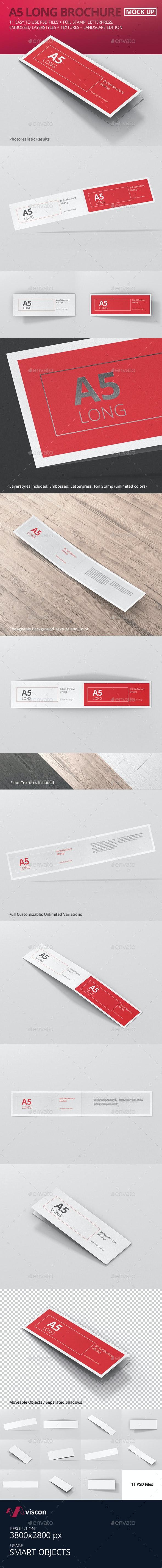 A5 Long Bi-Fold Brochure Mock-Up Landscape - Brochures Print