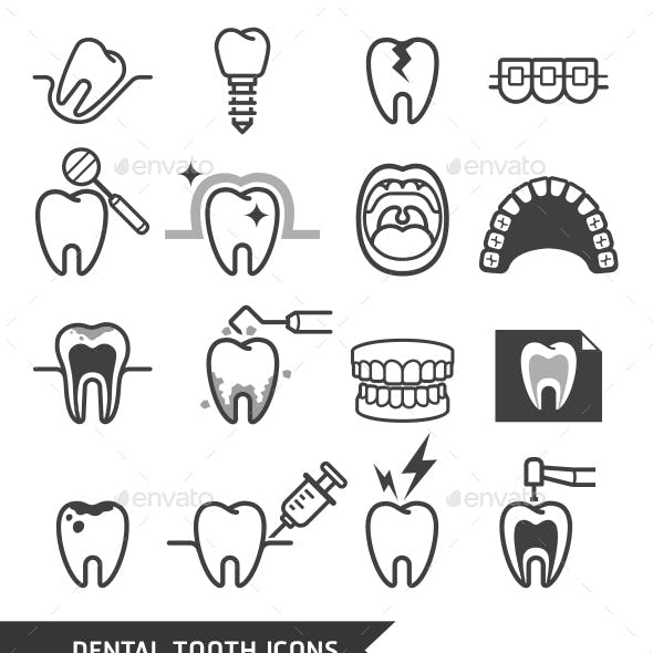 Dental Tooth Icons Set.