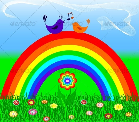 rainbow with the  birds - Nature Conceptual