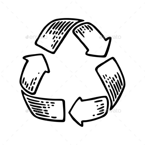 Recycle Sign. Vintage Vector Black Engraving