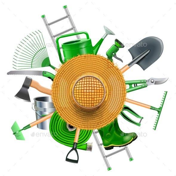 Vector Garden Accessories with Straw Hat