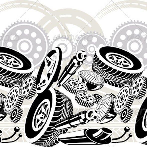 Car Parts Seamless Pattern