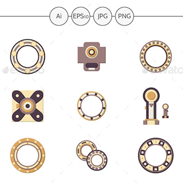 Mechanical bearings flat color icons