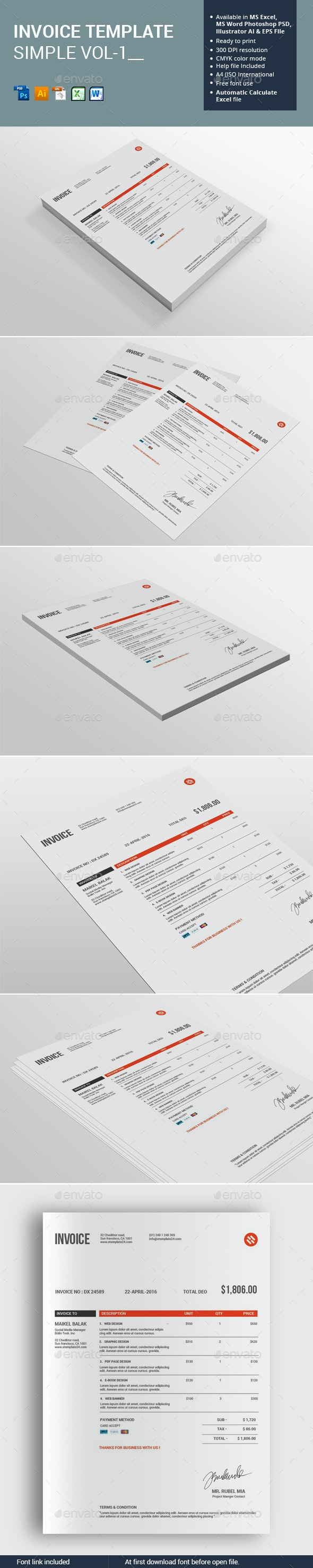 Invoice Template Simple Vol-1 - Proposals & Invoices Stationery