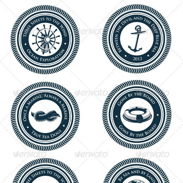 Nautical Labels With Marine Slogans